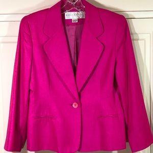Doncaster Pink Silk 1 Button Blazer Sz 6P NWOT